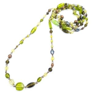 Jewelry - Green Glass Bead Double Wrap Long Necklace